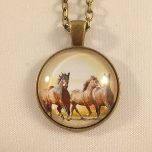 Accessories - Bronze Gold Horses Glass Cabochon Necklace